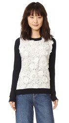 Prabal Gurung Long Sleeve Cashmere Sweater Navy