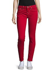 True Religion Solid Skinny Fit Cotton Blend Pants Ruby Red