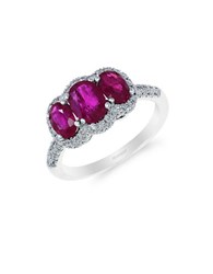 Effy 14K White Gold Natural Ruby And Diamond Three Stone Ring Ruby White Gold