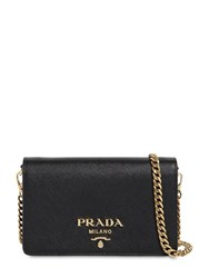 Prada Saffiano Leather Shoulder Bag Black