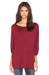 Michael Lauren Elwood Long Sleeve Oversized Cape Top Red