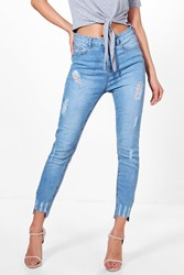 Boohoo High Rise Ripped Destroyed Hem Skinny Jeans Blue