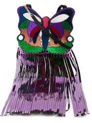 Manish Arora Butterfly Shaped Crossbody Bag Pink And Purple