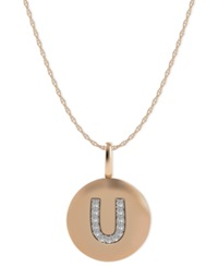 Macy's 14K Rose Gold Necklace Diamond Accent Letter U Disk Pendant