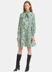 Valentino Floral Pussybow Crepe De Chine Shift Dress Green