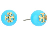 Tory Burch Pearl Stud Earrings Turquoise Tory Gold