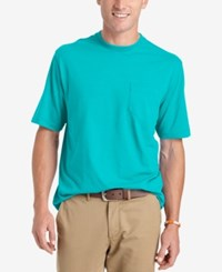 Izod Solid Double Layer Jersey Pocket T Shirt Blue Radia