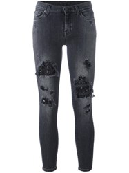 7 For All Mankind Distressed Skinny Jeans Grey