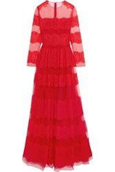 Valentino Paneled Chantilly Lace And Tulle Gown Red