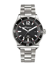 Salvatore Ferragamo Mens 1898 Sport Silvertone And Black Bracelet Watch