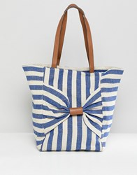 Oasis Shopper Bag With Bow Detail In Stripe Blue