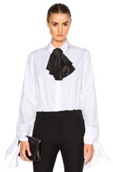 Isa Arfen Taffeta Bow And Tie Sleeve Top In White
