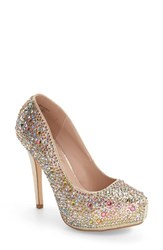 Lauren Lorraine Women's Bonny Crystal Embellished Platform Pump Gold Multi