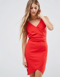 Wal G Drape Front Dress Red