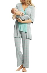 Everly Grey Roxanne During And After 5 Piece Maternity Sleepwear Set Sea Foam