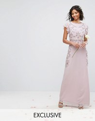 Maya Maxi Dress With Frill Sleeve And Placement Embellishment Purple