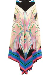 Roberto Cavalli Printed Silk Crepe De Chine And Silk Georgette Maxi Skirt