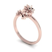Antoanetta 14K Rose Gold Skull Ring With Flowers6.5