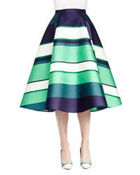 Lanvin Striped Satin A Line Midi Skirt Green Multi
