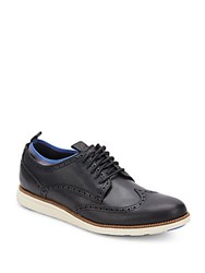 Cole Haan Leather Lace Up Wingtip Sneakers Black