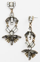 Women's Robert Rose Fan Drop Earrings Crystal Brass Ox