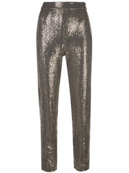 Badgley Mischka Cropped Sequin Embellished Trousers Gold
