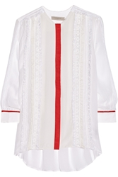 Preen Line Virginia Lace And Crepe Paneled Georgette Shirt
