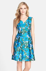 Donna Ricco Floral Print Shantung Fit And Flare Dress Green Blue