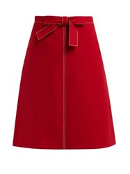 Redvalentino Knotted High Rise Crepe Midi Skirt Red