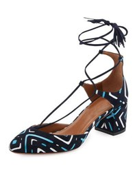 Aquazzura Boheme Printed Suede Block Heel Pump Blue Pattern