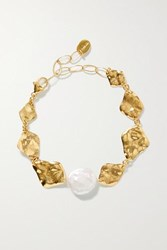 Chan Luu Gold Plated Pearl Bracelet One Size
