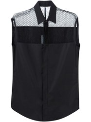Todd Lynn Lace Shoulder Sleeveless Shirt Black