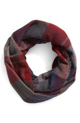 Junior Women's Bp. 'Heritage' Plaid Infinity Scarf Navy Grey