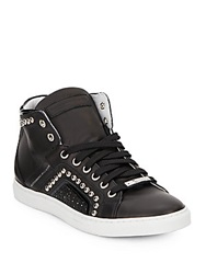Alessandro Dell'acqua Studded High Top Leather Sneakers Black