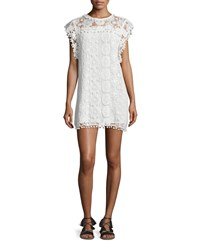 Tularosa Elba Butterfly Sleeve Lace Shift Dress Chalk Women's White