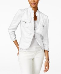 Inc International Concepts Ruffle Trim Linen Jacket Only At Macy's Bright White