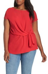 Gibson Tie Front Blouse Red