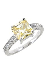 Sterling Forever Silver Canary Cz Ring Metallic