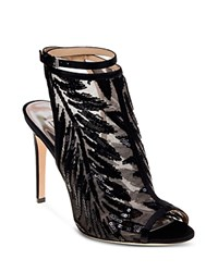 Badgley Mischka Blakely Sequined Mesh High Heel Booties Black