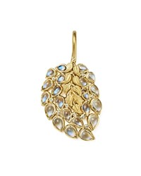 Temple St. Clair 18K Yellow Gold Diamond And Moonstone Feather Pendant White Gold