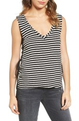 Pam And Gela Women's Stripe Lace Up Tank