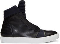 Diesel Black Gold Navy Leather And Nylon High Top Sneakers