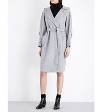 Moandco. Hooded Wool Blend Wrap Coat Heather Grey