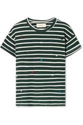 The Great Boxy Crew Embroidered Striped Cotton Jersey T Shirt Emerald