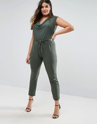 Club L Jumpsuit With Cowl Neck Khaki Green