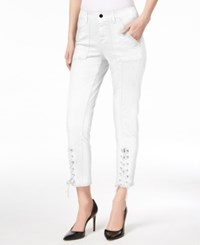 Vince Camuto Lace Up Skinny Jeans Lt Cream