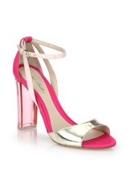 Monique Lhuillier Ava Lucite Heel Metallic Leather And Satin Sandals Lipstick Pink