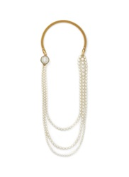 Miriam Haskell Three Tier Baroque Pearl Wire Mesh Necklace White
