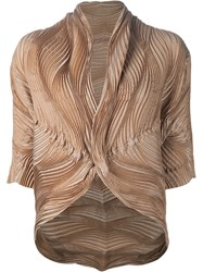 Issey Miyake Wave Pleated Jacket Nude And Neutrals