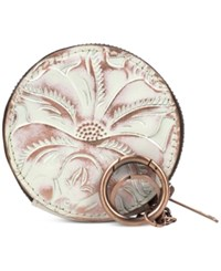 Patricia Nash Tooled Mini Scafati Key Chain Pouch White Copper Overdye